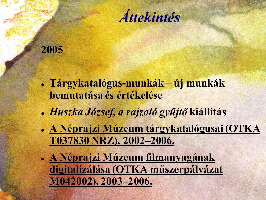 Áttekintés 2005 Tárgykatalógus-munkák – új munkák bemutatása és értékelése Huszka József, a rajzoló gyűjtő kiállítás A Néprajzi Múzeum tárgykatalógusa