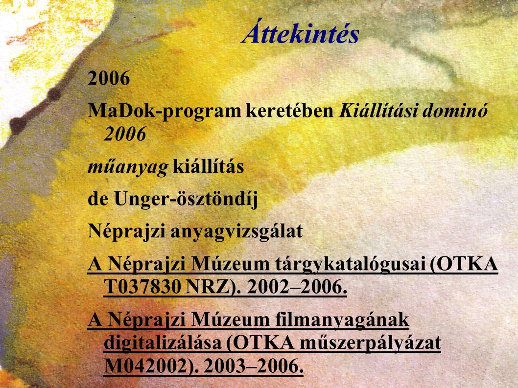 Áttekintés 2006 MaDok-program keretében Kiállítási dominó 2006 műanyag kiállítás de Unger-ösztöndíj Néprajzi anyagvizsgálat A Néprajzi Múzeum tárgykat
