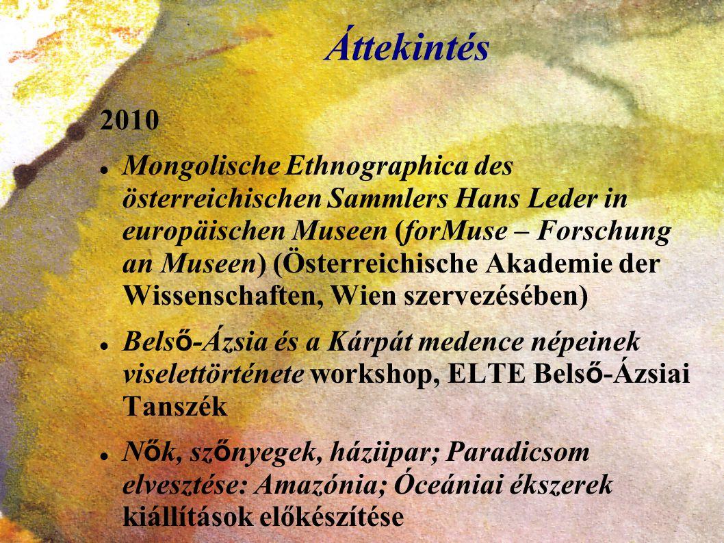 Áttekintés 2010 Mongolische Ethnographica des österreichischen Sammlers Hans Leder in europäischen Museen (forMuse – Forschung an Museen) (Österreichi