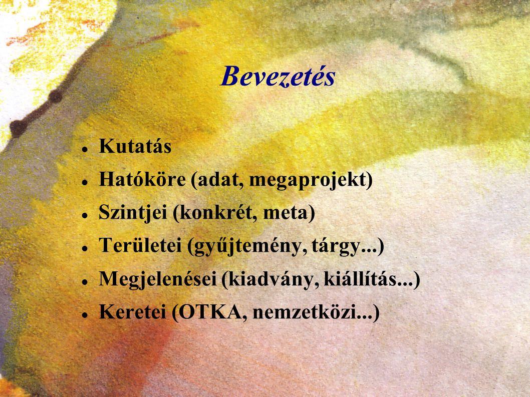 Bevezetés Kutatás Hatóköre (adat, megaprojekt) Szintjei (konkrét, meta) Területei (gyűjtemény, tárgy...) Megjelenései (kiadvány, kiállítás...) Keretei