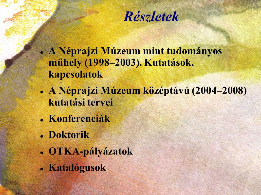Részletek A Néprajzi Múzeum mint tudományos műhely (1998–2003). Kutatások, kapcsolatok A Néprajzi Múzeum középtávú (2004–2008) kutatási tervei Konfere