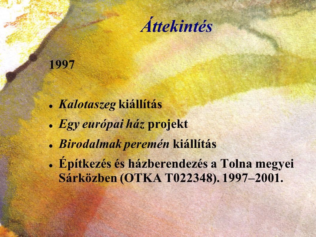 Áttekintés 1997 Kalotaszeg kiállítás Egy európai ház projekt Birodalmak peremén kiállítás Építkezés és házberendezés a Tolna megyei Sárközben (OTKA T0