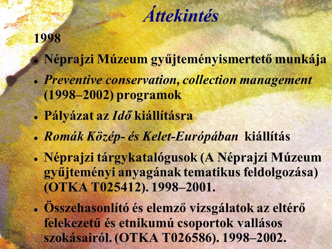 Áttekintés 1998 Néprajzi Múzeum gyűjteményismertető munkája Preventive conservation, collection management (1998–2002) programok Pályázat az Idő kiáll
