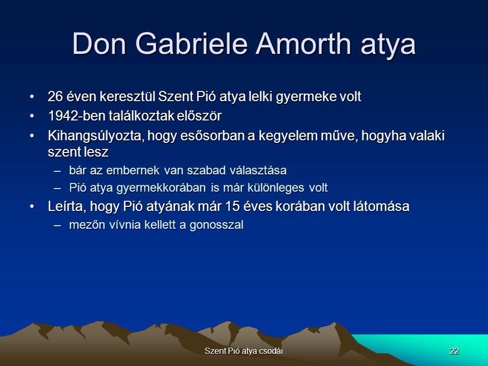 Szent Pió atya csodái22 Don Gabriele Amorth atya 26 éven keresztül Szent Pió atya lelki gyermeke volt26 éven keresztül Szent Pió atya lelki gyermeke v