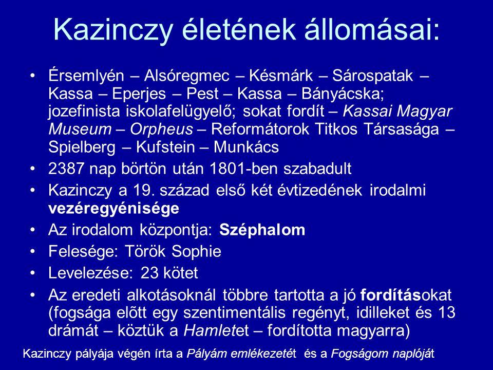 Kazinczy életének állomásai: Érsemlyén – Alsóregmec – Késmárk – Sárospatak – Kassa – Eperjes – Pest – Kassa – Bányácska; jozefinista iskolafelügyelő;