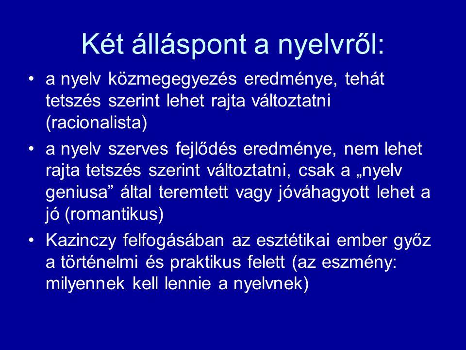 Két álláspont a nyelvről: a nyelv közmegegyezés eredménye, tehát tetszés szerint lehet rajta változtatni (racionalista) a nyelv szerves fejlődés eredm