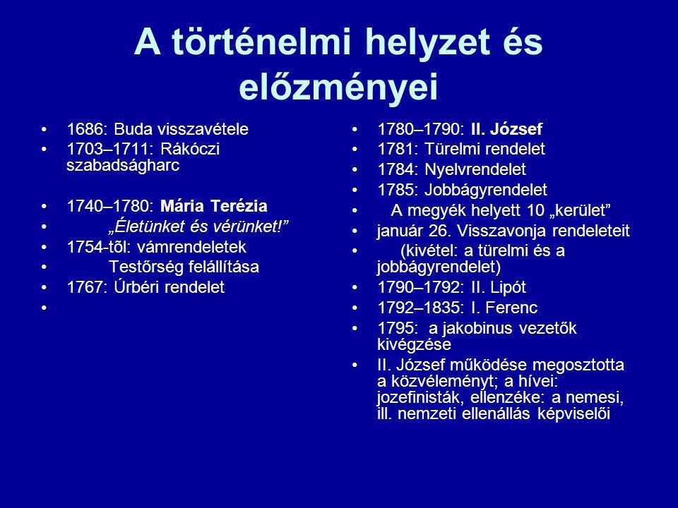 """A történelmi helyzet és előzményei 1686: Buda visszavétele 1703–1711: Rákóczi szabadságharc 1740–1780: Mária Terézia """"Életünket és vérünket! 1754-tõl: vámrendeletek Testőrség felállítása 1767: Úrbéri rendelet 1780–1790: II."""