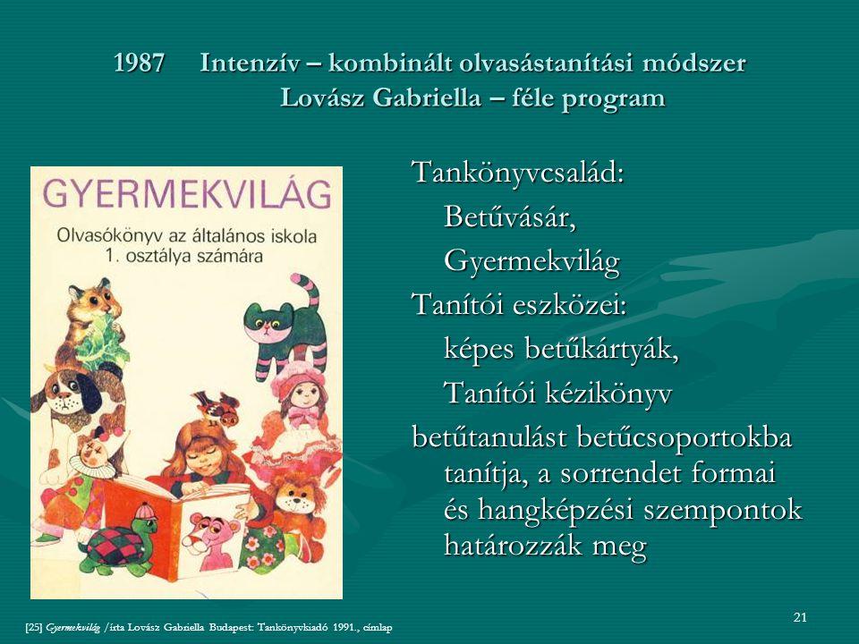 21 1987Intenzív – kombinált olvasástanítási módszer Lovász Gabriella – féle program Tankönyvcsalád:Betűvásár,Gyermekvilág Tanítói eszközei: képes betűkártyák, Tanítói kézikönyv betűtanulást betűcsoportokba tanítja, a sorrendet formai és hangképzési szempontok határozzák meg [25] Gyermekvilág /írta Lovász Gabriella Budapest: Tankönyvkiadó 1991., címlap