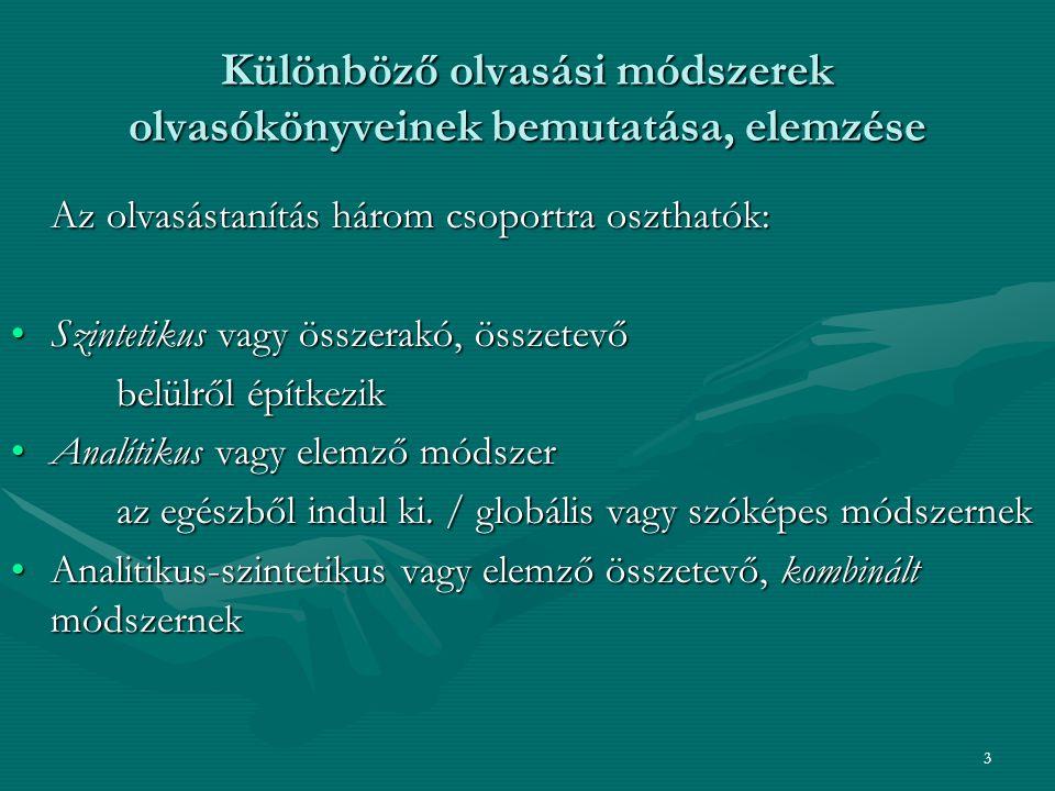 24 Tolnai Gyuláné nevéhez fűződő, teljes alsó tagozatos anyanyelvi program 40 évig dolgozott a saját tanítói tapasztalatait tartalmazza - ezt a módszert programfalas módszerként is szokták emlegetni Tankönyvcsalád:Ábécéskönyv,Olvasókönyv, Írás munkafüzet I.