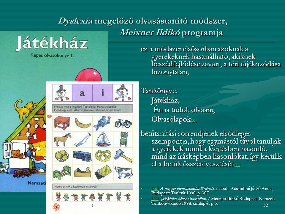 32 Dyslexia megelőző olvasástanító módszer, Meixner Ildikó programja ez a módszer elsősorban azoknak a gyerekeknek használható, akiknek beszédfejlődése zavart, a téri tájékozódása bizonytalan, Tankönyve:Játékház, Én is tudok olvasni, Én is tudok olvasni, Olvasólapok [36] [36] betűtanítási sorrendjének elsődleges szempontja, hogy egymástól távol tanulják a gyerekek mind a kiejtésben hasonló, mind az írásképben hasonlókat, így kerülik el a betűk összetévesztését [37] [37] [36] A magyar olvasástanítás története.