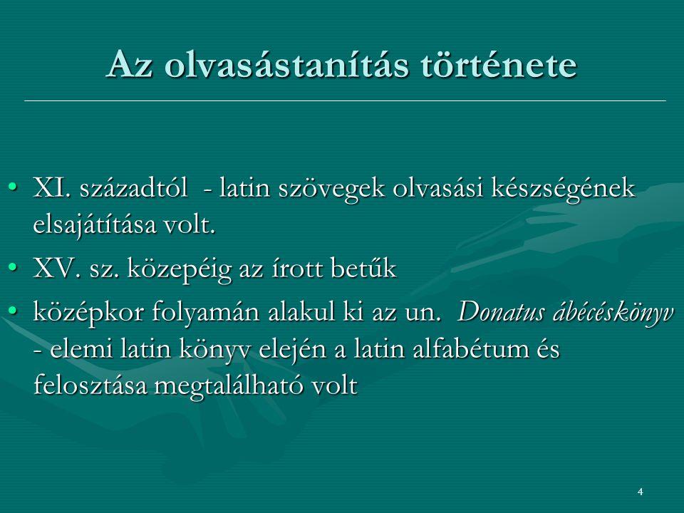 5 Az olvasástanítás története - XVI.
