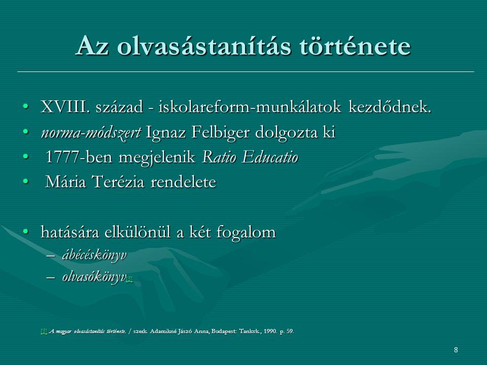 9 Az olvasástanítás története [6][6] Adamikné Jászó Anna: Az írás és az olvasás története képekben.