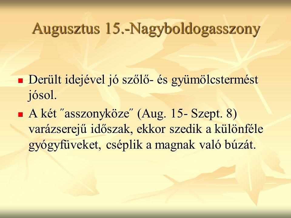 Augusztus 15.-Nagyboldogasszony Derült idejével jó szőlő- és gyümölcstermést jósol. Derült idejével jó szőlő- és gyümölcstermést jósol. A két ˝asszony