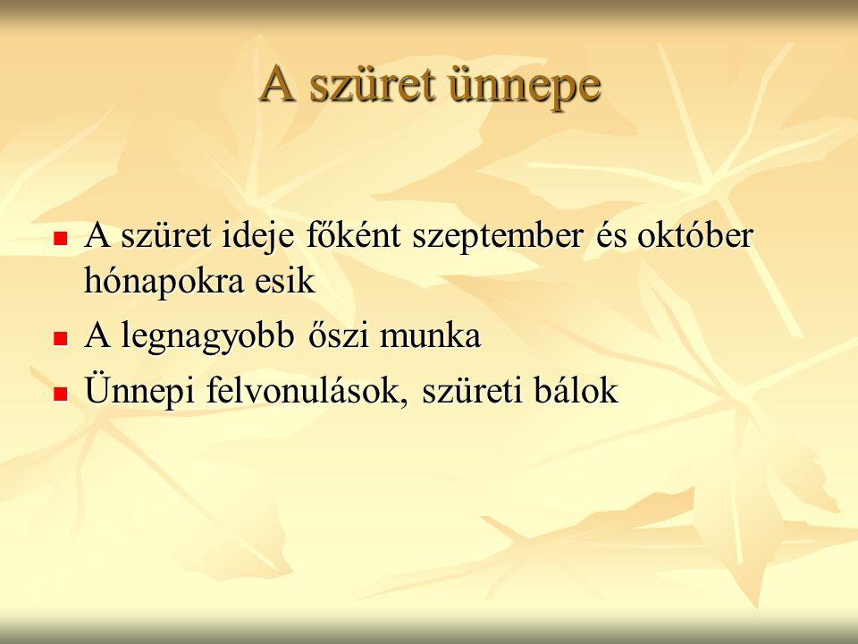 A szüret ünnepe A szüret ideje főként szeptember és október hónapokra esik A szüret ideje főként szeptember és október hónapokra esik A legnagyobb ősz