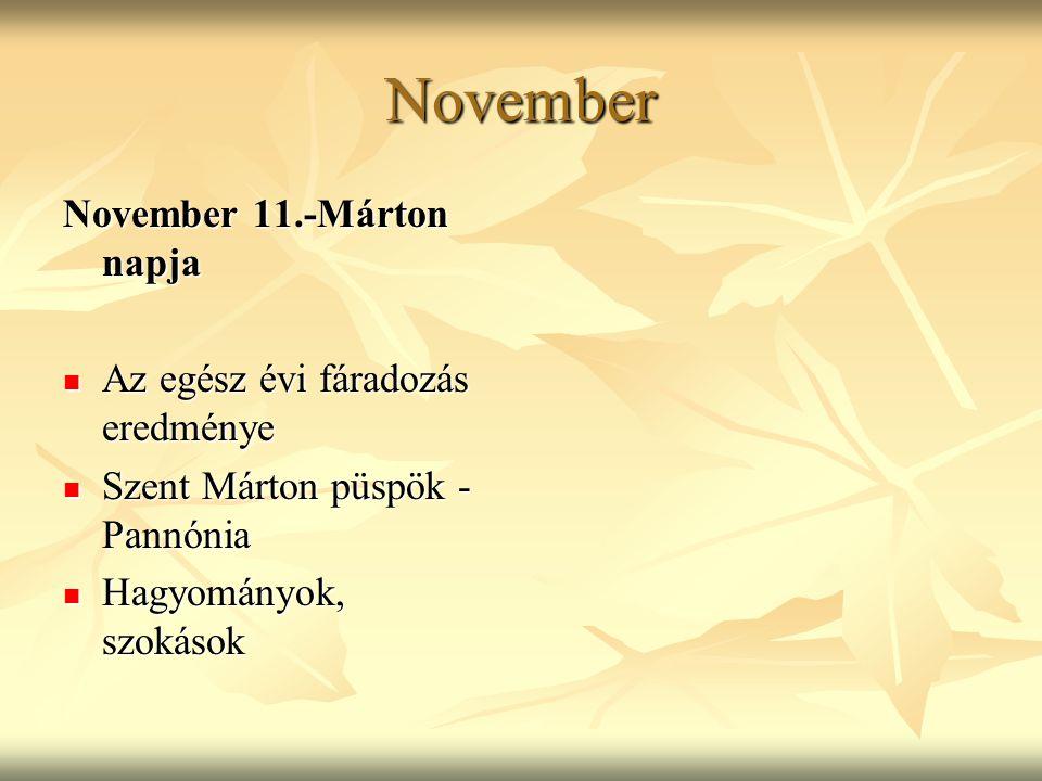 November November 11.-Márton napja Az egész évi fáradozás eredménye Az egész évi fáradozás eredménye Szent Márton püspök - Pannónia Szent Márton püspö