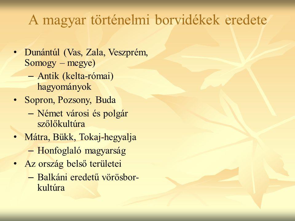 Dunántúl (Vas, Zala, Veszprém, Somogy – megye) – Antik (kelta-római) hagyományok Sopron, Pozsony, Buda – Német városi és polgár szőlőkultúra Mátra, Bü