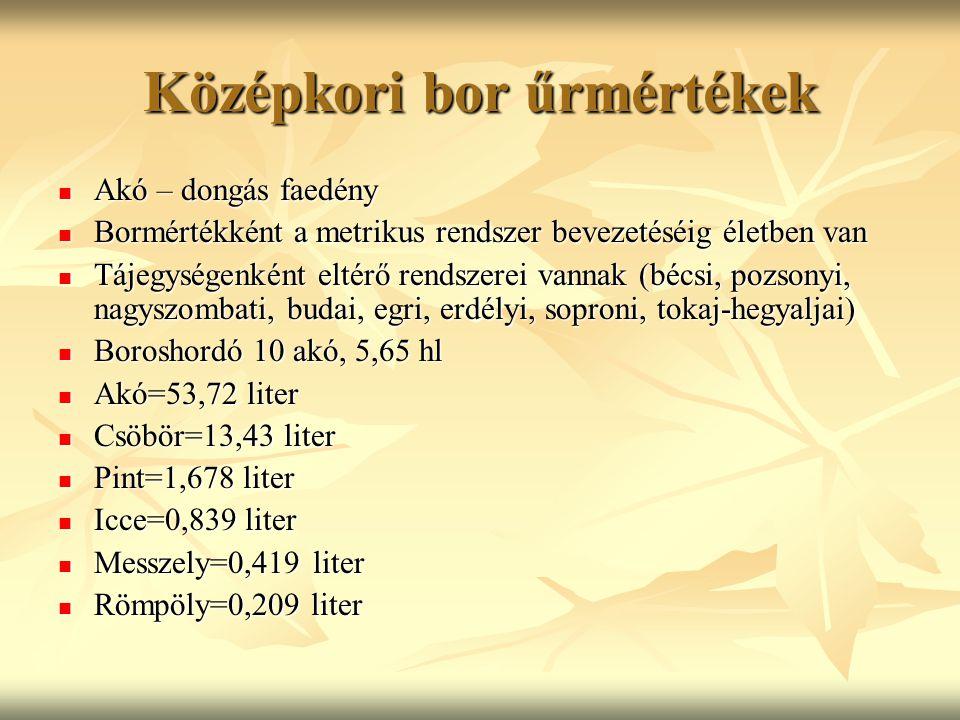 Középkori bor űrmértékek Akó – dongás faedény Akó – dongás faedény Bormértékként a metrikus rendszer bevezetéséig életben van Bormértékként a metrikus