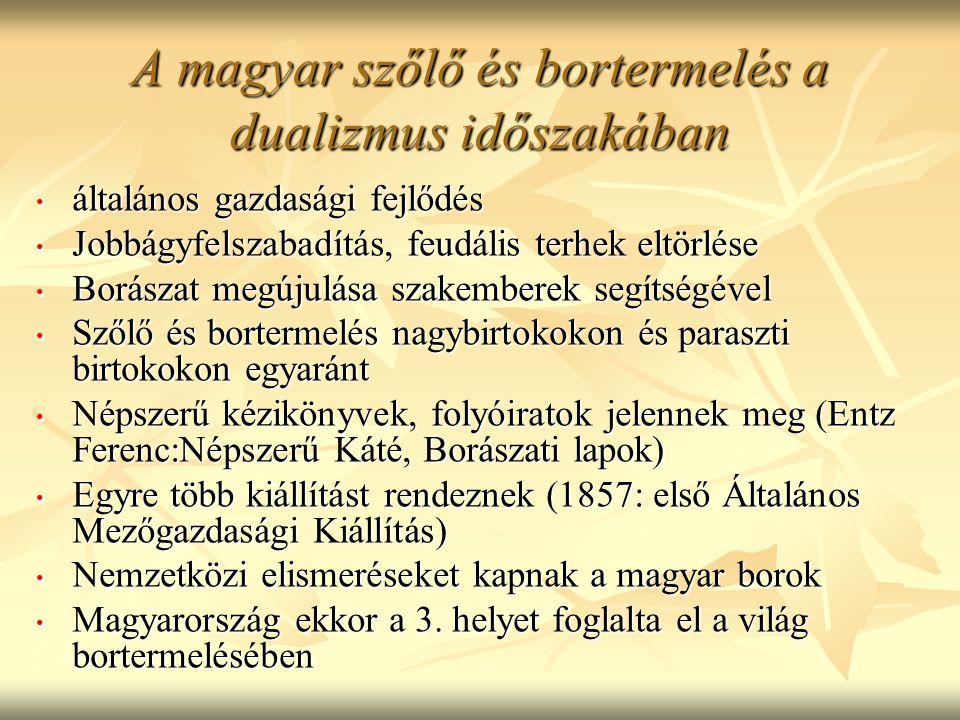 A magyar szőlő és bortermelés a dualizmus időszakában általános gazdasági fejlődés általános gazdasági fejlődés Jobbágyfelszabadítás, feudális terhek