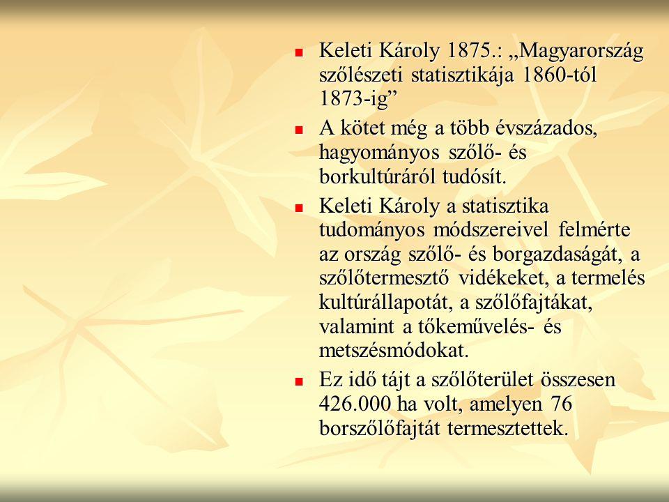 """Keleti Károly 1875.: """"Magyarország szőlészeti statisztikája 1860-tól 1873-ig"""" Keleti Károly 1875.: """"Magyarország szőlészeti statisztikája 1860-tól 187"""