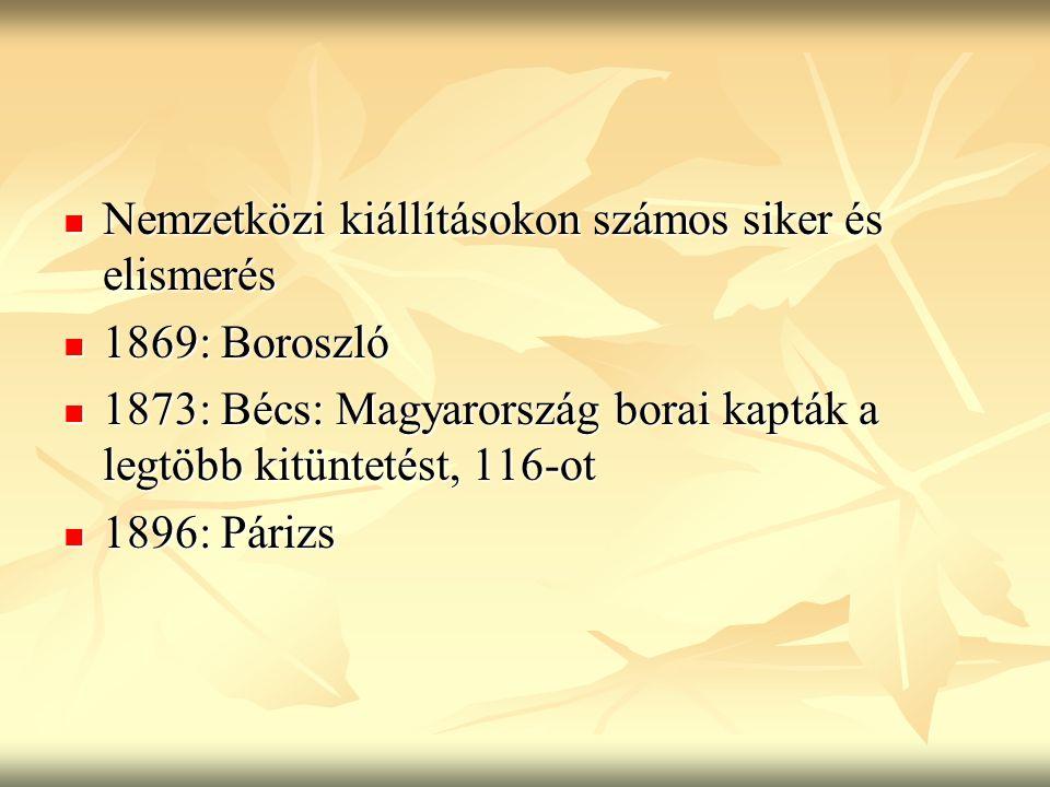 Nemzetközi kiállításokon számos siker és elismerés Nemzetközi kiállításokon számos siker és elismerés 1869: Boroszló 1869: Boroszló 1873: Bécs: Magyar