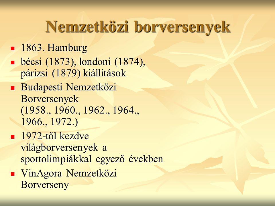Nemzetközi borversenyek 1863. Hamburg 1863. Hamburg bécsi (1873), londoni (1874), párizsi (1879) kiállítások bécsi (1873), londoni (1874), párizsi (18