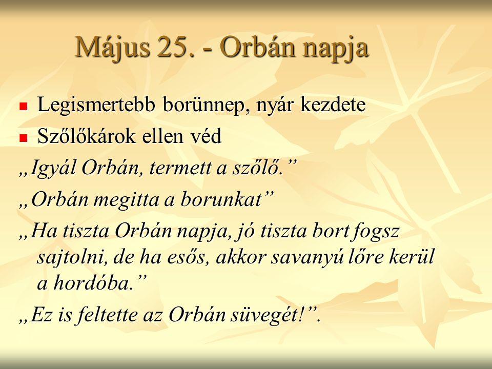 """Május 25. - Orbán napja Legismertebb borünnep, nyár kezdete Legismertebb borünnep, nyár kezdete Szőlőkárok ellen véd Szőlőkárok ellen véd """"Igyál Orbán"""