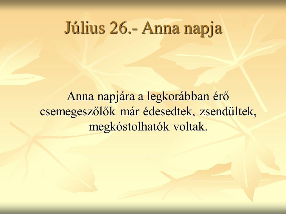 Július 26.- Anna napja Anna napjára a legkorábban érő csemegeszőlők már édesedtek, zsendültek, megkóstolhatók voltak. Anna napjára a legkorábban érő c
