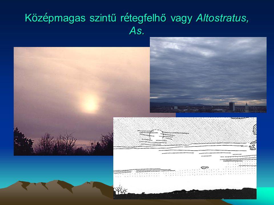 Középmagas szintű rétegfelhő vagy Altostratus, As.