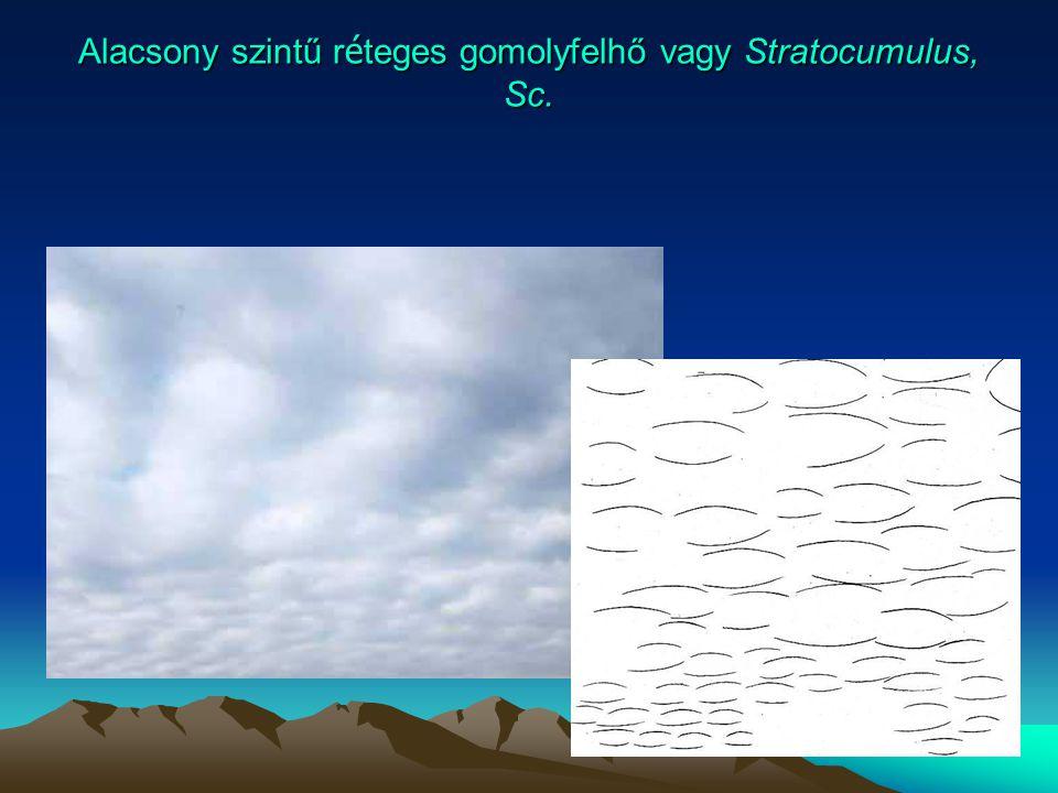 Alacsony szintű réteges gomolyfelhő vagy Stratocumulus, Sc.