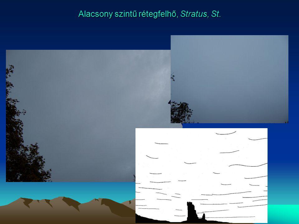 Alacsony szintű rétegfelhő, Stratus, St.