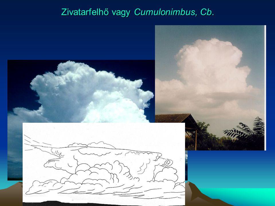 Zivatarfelhő vagy Cumulonimbus, Cb.