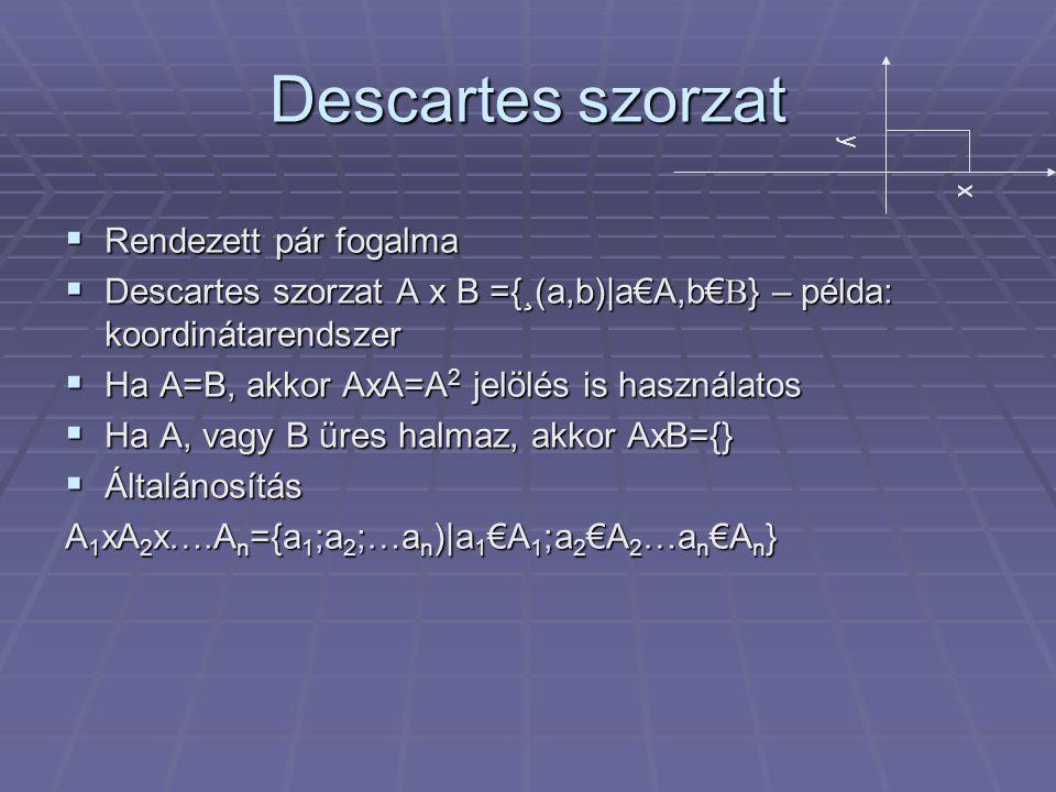 Descartes szorzat  Rendezett pár fogalma  Descartes szorzat A x B ={¸(a,b)|a€A,b€B} – példa: koordinátarendszer  Ha A=B, akkor AxA=A 2 jelölés is használatos  Ha A, vagy B üres halmaz, akkor AxB={}  Általánosítás A 1 xA 2 x….A n ={a 1 ;a 2 ;…a n )|a 1 €A 1 ;a 2 €A 2 …a n €A n } y x