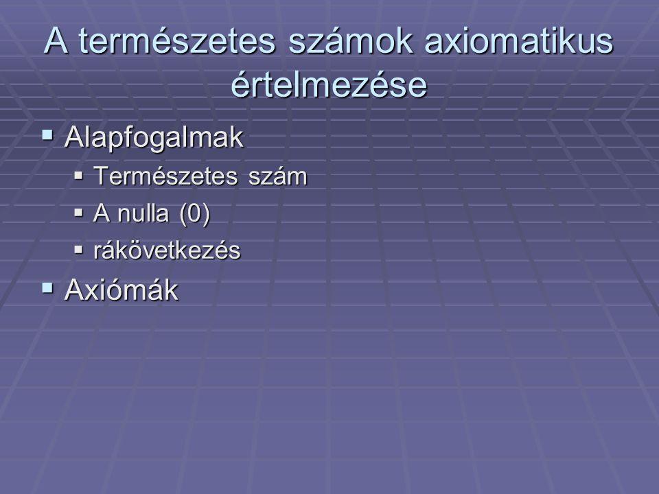 A természetes számok axiomatikus értelmezése  Alapfogalmak  Természetes szám  A nulla (0)  rákövetkezés  Axiómák