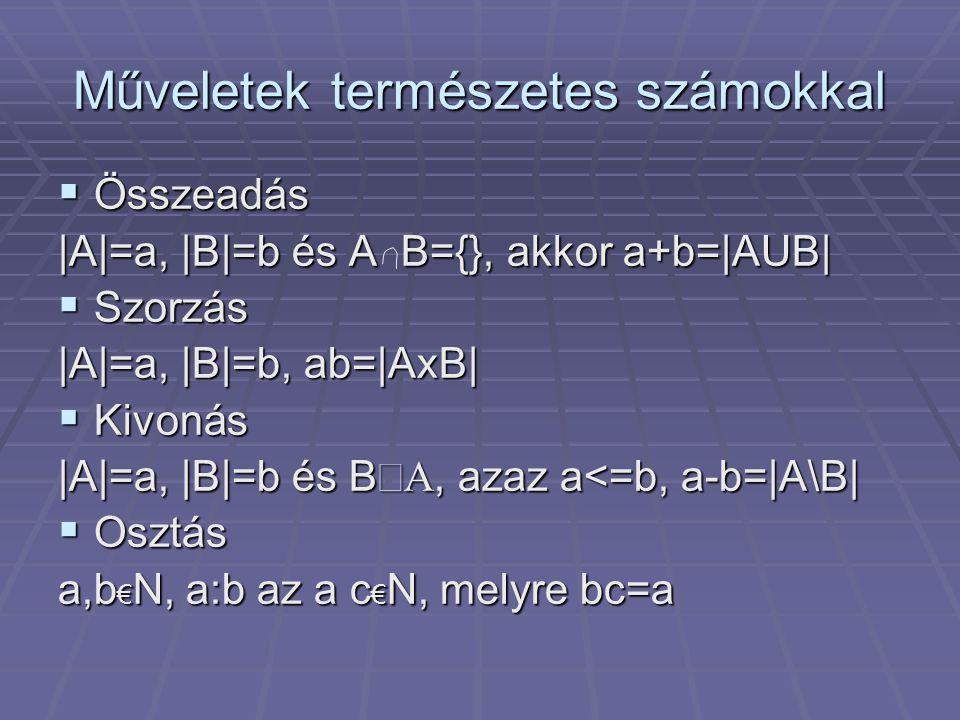 Műveletek természetes számokkal  Összeadás |A|=a, |B|=b és A B={}, akkor a+b=|AUB|  Szorzás |A|=a, |B|=b, ab=|AxB|  Kivonás |A|=a, |B|=b és BÍA, az