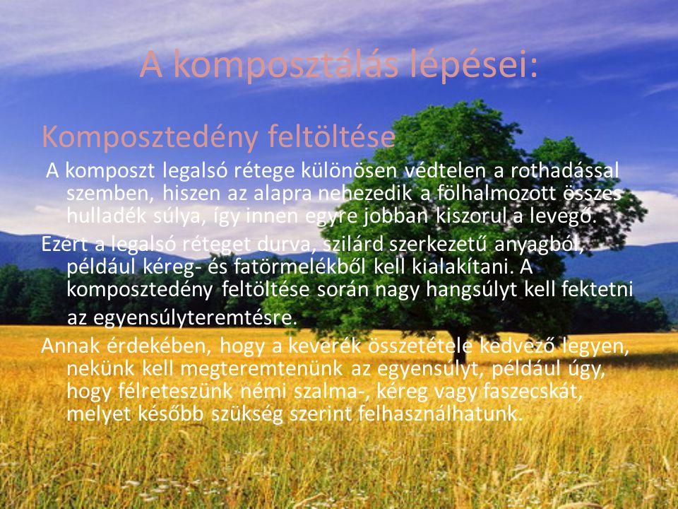 A komposztálás lépései: Komposztedény feltöltése A komposzt legalsó rétege különösen védtelen a rothadással szemben, hiszen az alapra nehezedik a fölh
