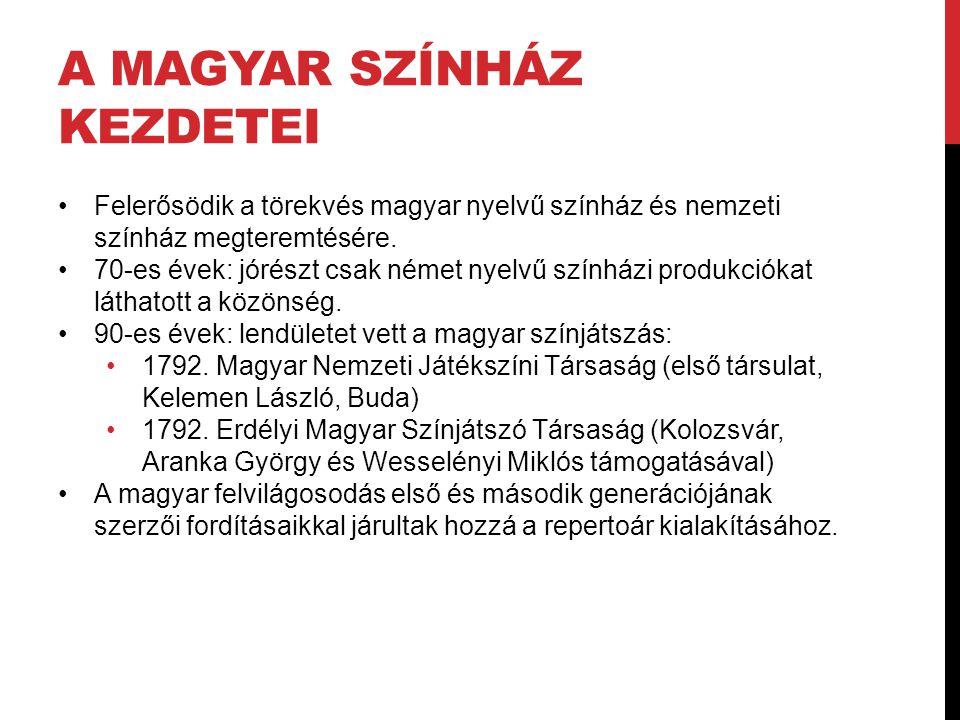 A MAGYAR SZÍNHÁZ KEZDETEI Felerősödik a törekvés magyar nyelvű színház és nemzeti színház megteremtésére. 70-es évek: jórészt csak német nyelvű színhá
