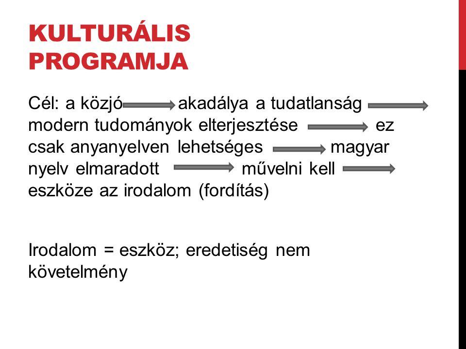 KULTURÁLIS PROGRAMJA Cél: a közjó akadálya a tudatlanság modern tudományok elterjesztése ez csak anyanyelven lehetséges magyar nyelv elmaradott műveln
