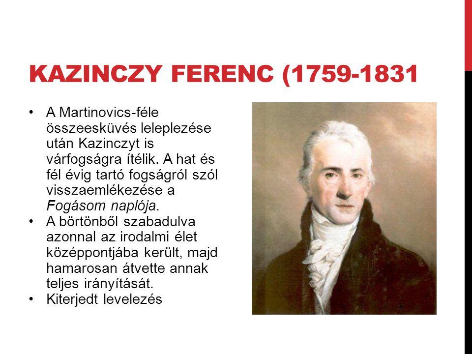 KAZINCZY FERENC (1759-1831 A Martinovics-féle összeesküvés leleplezése után Kazinczyt is várfogságra ítélik. A hat és fél évig tartó fogságról szól vi