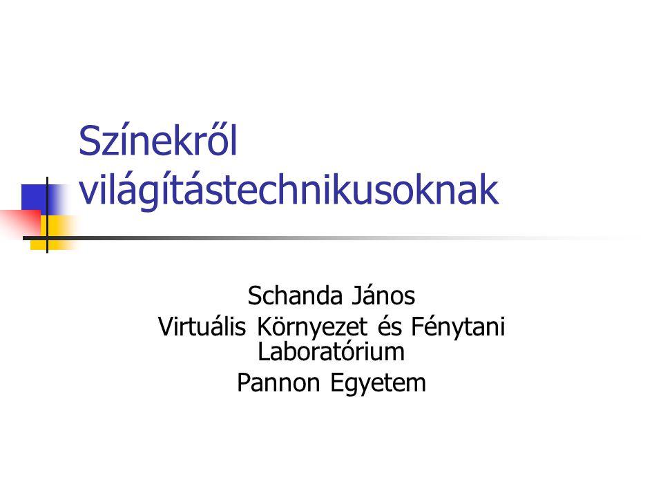 Pannon Egyetem Virtuális Környezetek és Fénytani Laboratórium Tematika Az emberi színlátás mechanizmusa A színinger objektív meghatározása fényforrások színi jellemzése Magasabbrendű színtan színi adaptáció, áthangolódás; Színvisszaadás; szín megjelenés.
