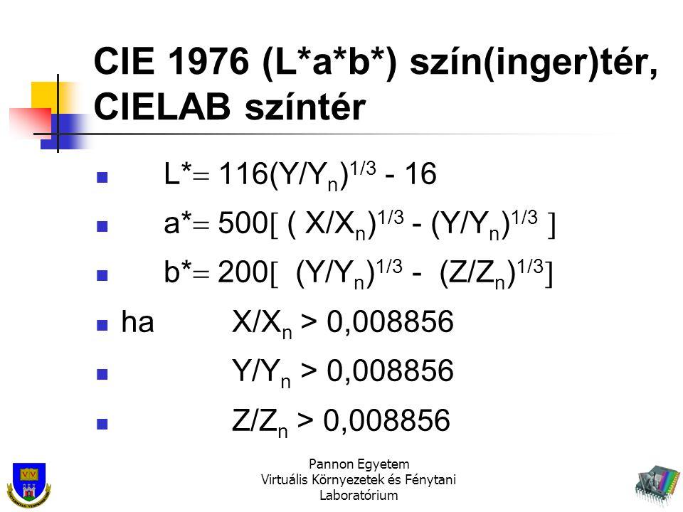 Pannon Egyetem Virtuális Környezetek és Fénytani Laboratórium CIE 1976 (L*a*b*) szín(inger)tér, CIELAB színtér L*  116(Y/Y n ) 1/3 - 16 a*  500  (
