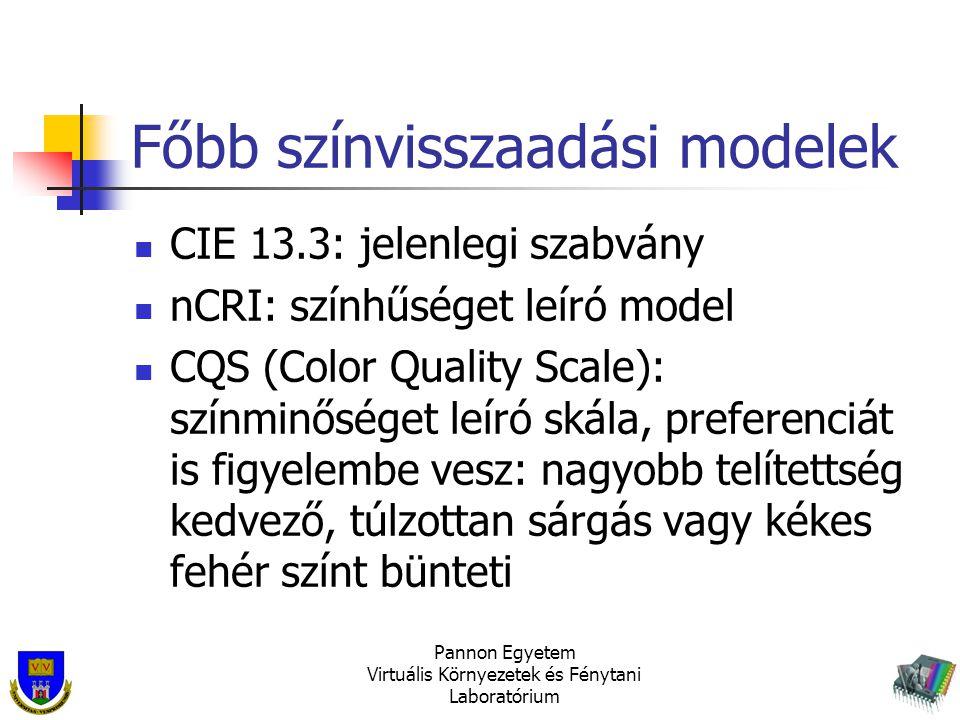 Főbb színvisszaadási modelek CIE 13.3: jelenlegi szabvány nCRI: színhűséget leíró model CQS (Color Quality Scale): színminőséget leíró skála, preferen
