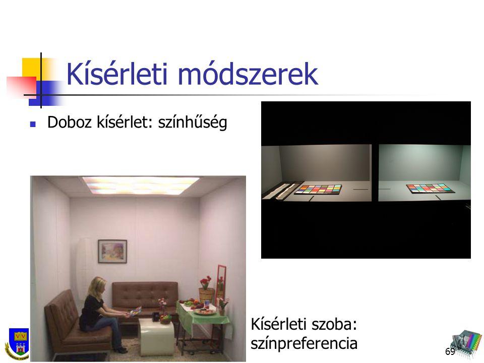 Kísérleti módszerek Doboz kísérlet: színhűség 69 Kísérleti szoba: színpreferencia