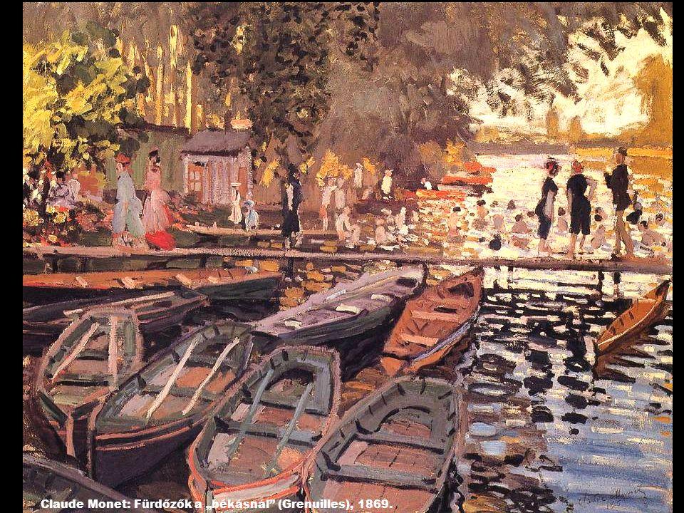 """Claude Monet: Fürdőzők a """"békásnál (Grenuilles), 1869."""