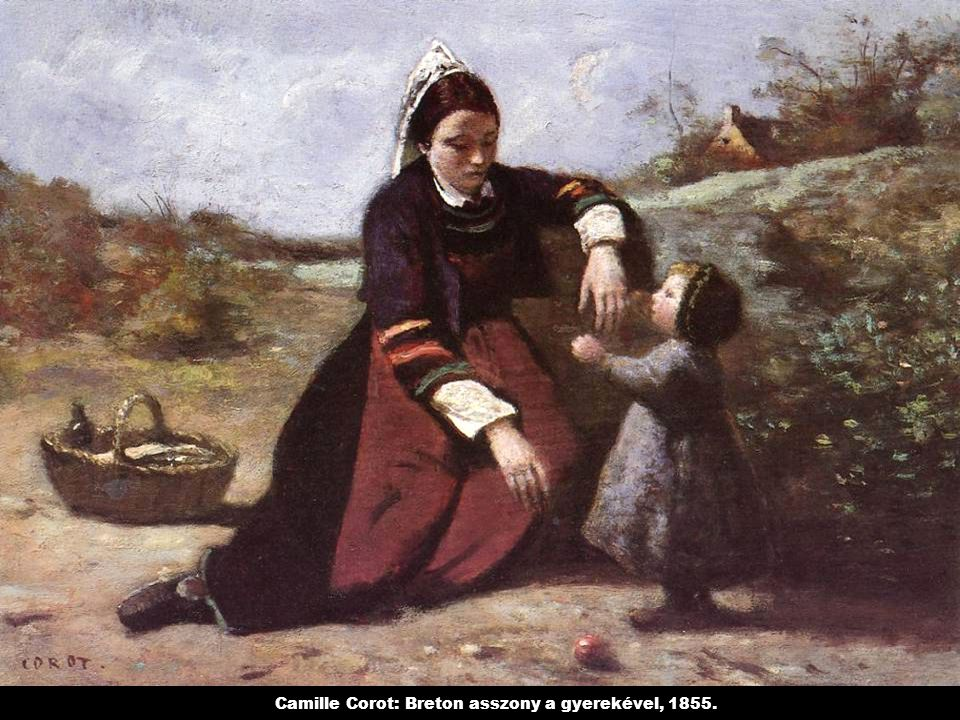Camille Corot: Breton asszony a gyerekével, 1855.