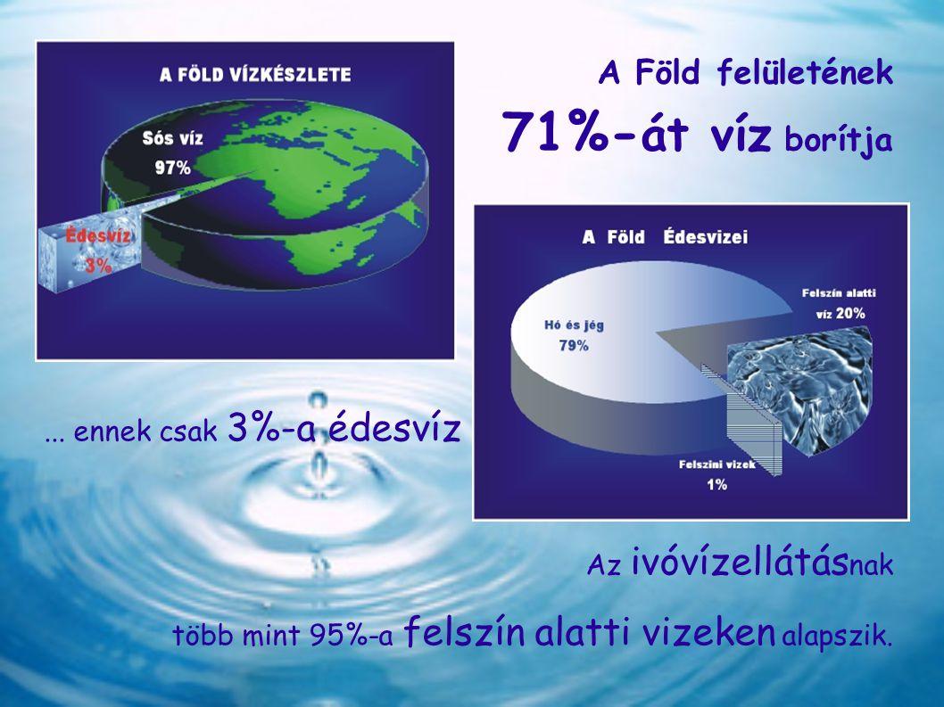 A Föld felületének 71%- át víz borítja... ennek csak 3%-a édesvíz Az ivóvízellátás nak több mint 95%-a felszín alatti vizeken alapszik.