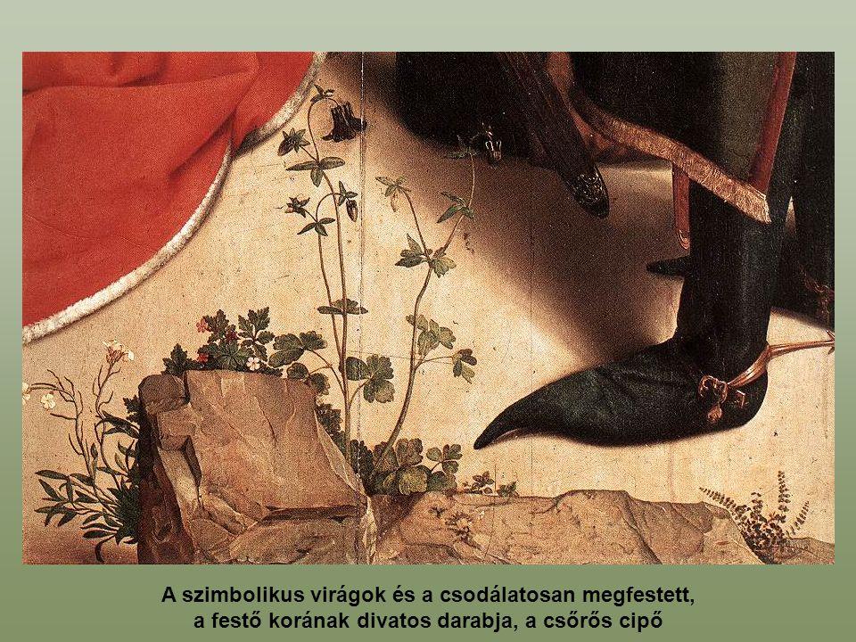 A szimbolikus virágok és a csodálatosan megfestett, a festő korának divatos darabja, a csőrős cipő