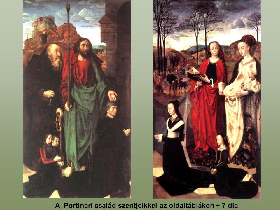 A Portinari család szentjeikkel az oldaltáblákon + 7 dia