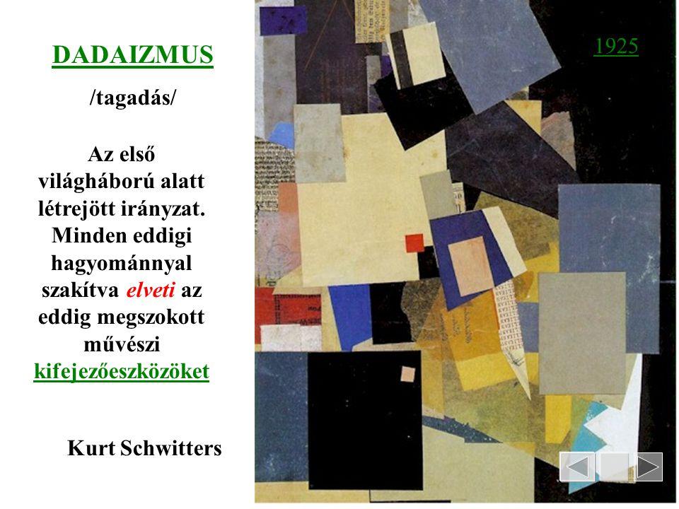 Marcell Duchamp/1887-1967/: Lépcsőn lemenő akt FUTURIZMUS-célja a mozgás érzékeltetése Egymás utáni mozgásfázisok egyidejű megfestésével kísérletezett