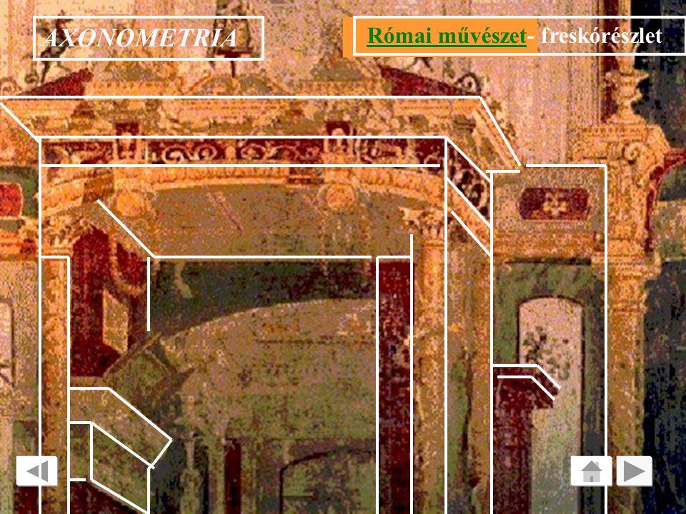 AXONOMETRIA TÉR ÁBRÁZOLÁS : AXONOMETRIA Római művészetRómai művészet: freskórészlet Az i.e. II század vége felé tiszta festői eszközökkel /árnyékolás;