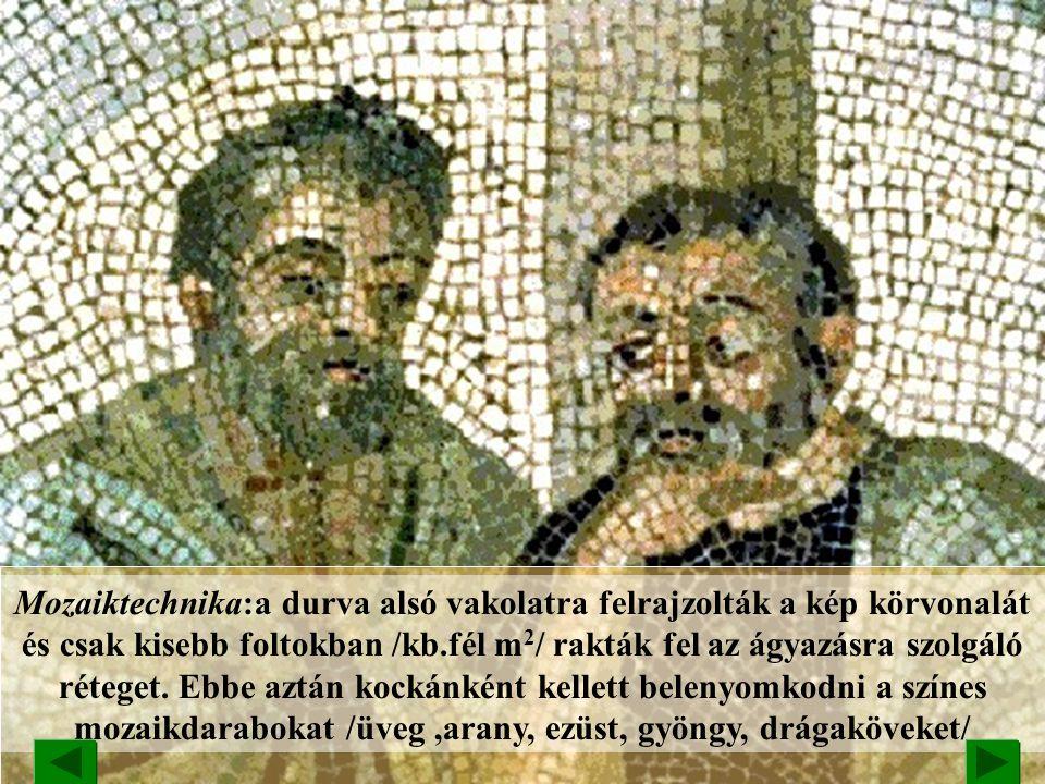 BIZÁNCI MÜVÉSZET A vallásos témájú mozaikművészetben a klasszikus szépségeszmény és az új; keresztény embertípus ötvöződik. Hagia Georgios-templom moz